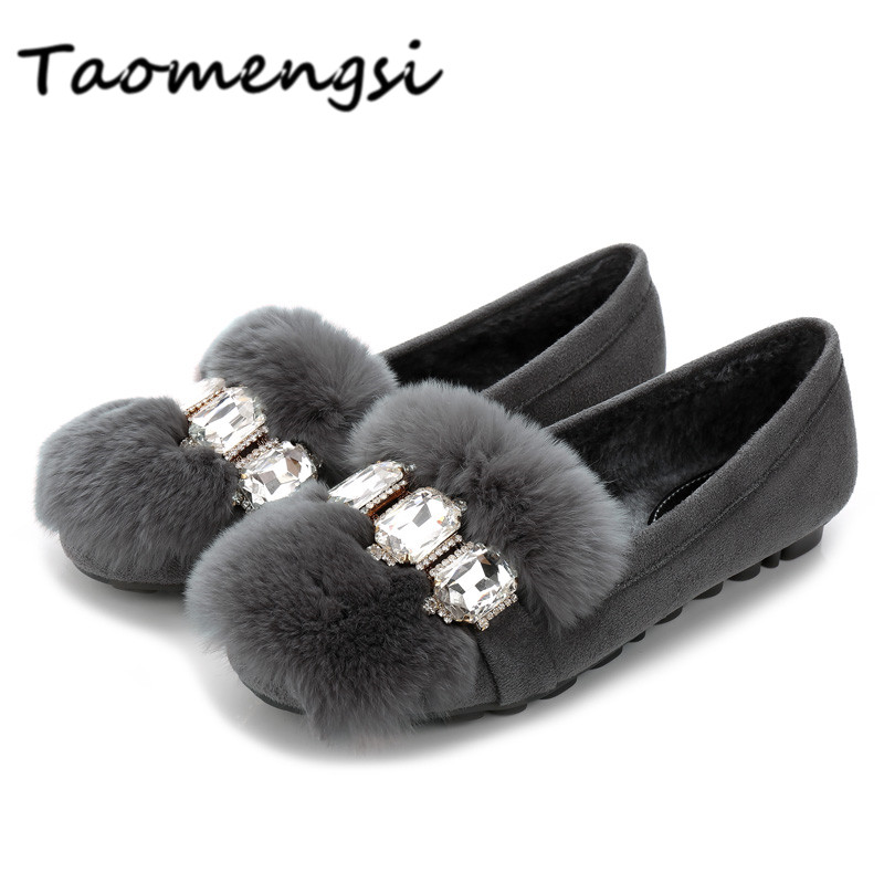 Taomengsi 2017 Womens snow boots Ladies winter shoes fashion Round Toe crystal diamond Rabbit hair Thick