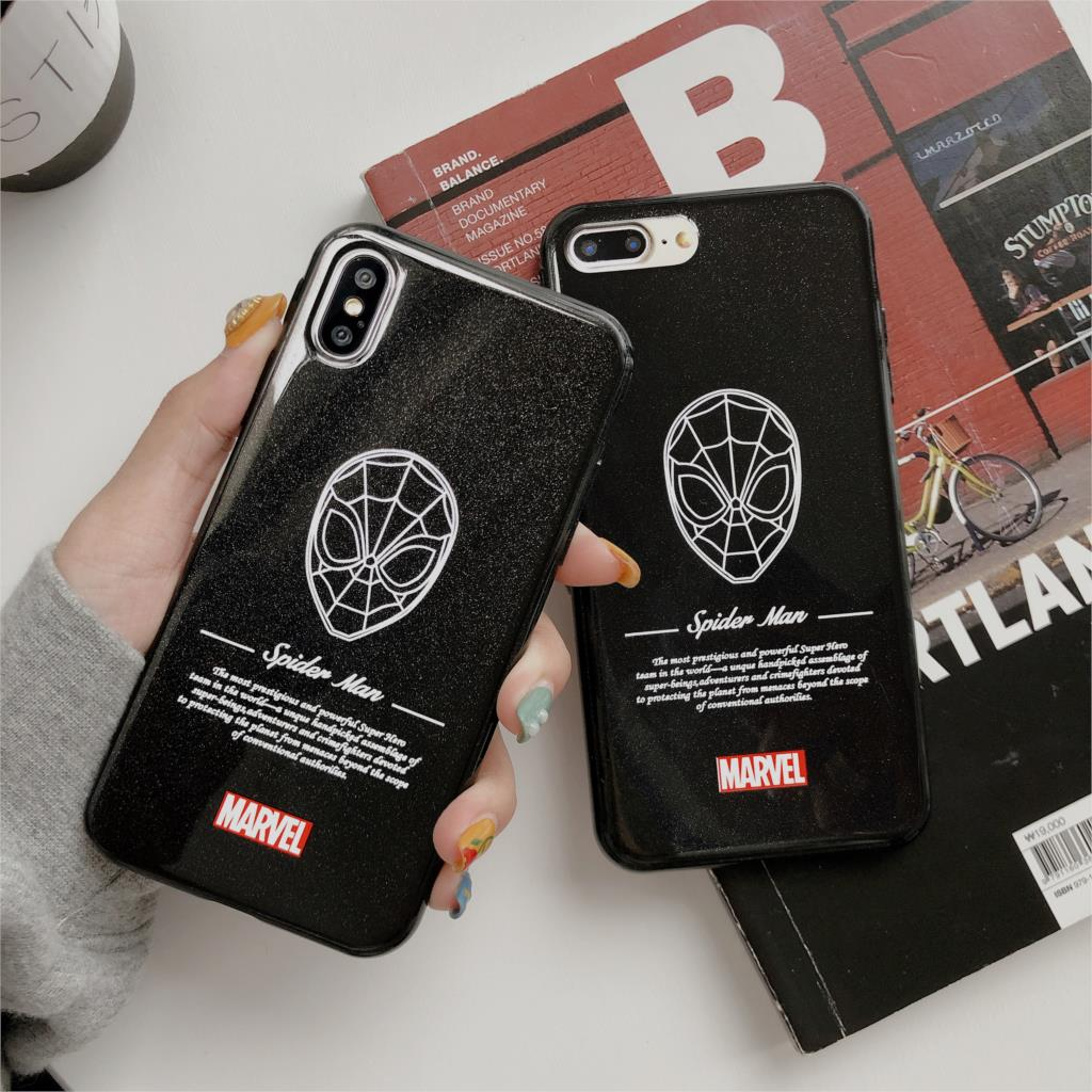 3D Relief Glitter Funda For Iphone X Case Marvel Spiderman Phone Case For Iphone X XR XS Max 6 6S 7 8 Plus Cover Soft TPU Capa