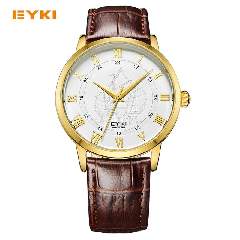 Luxury Brand Eyki Men Quartz Wrist Watch Couple Lovers Roman Scale Ship Leather Strap Waterproof Watch Male Female Watches
