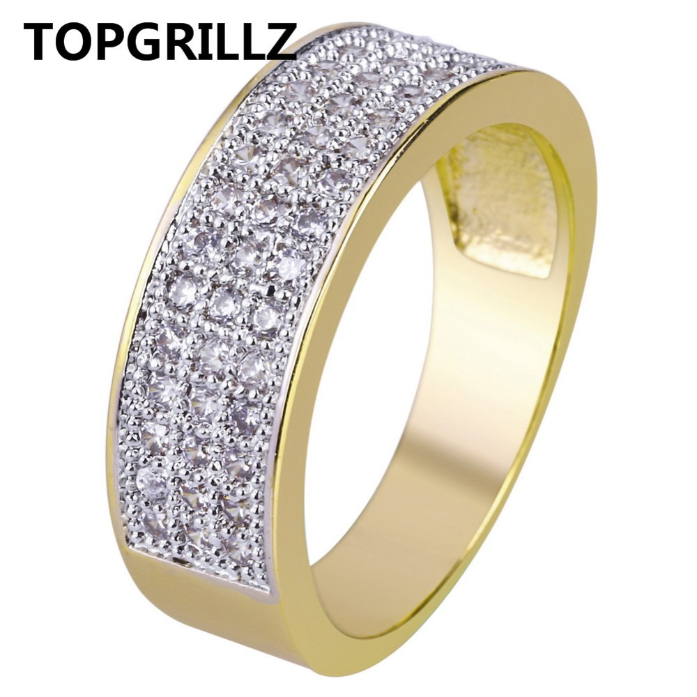 TOPGRILLZ Gold Color Plated Micro Pave Cubic Zircon Round Ring 7mm Width All Iced Out Bling Hip Hop Jewelry Rings For Female