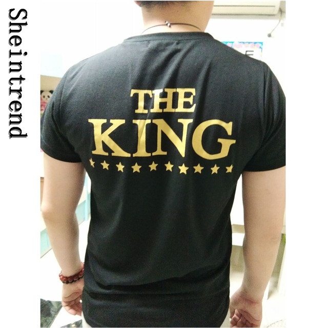 eb8aebffee Sheintrend 2017 Men Short Sleeve Couple Shirts King And Queen Printed T  Shirt Fashion Plus Size T-shirt Black Lovers Tops Tees. Price: