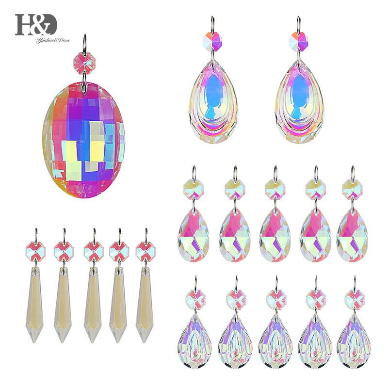 H&D 18pcs Rainbow Crystal Chandelier hanging beads For Home Decoration K9 Crystal High Quality Pendant For Fashion Ornaments