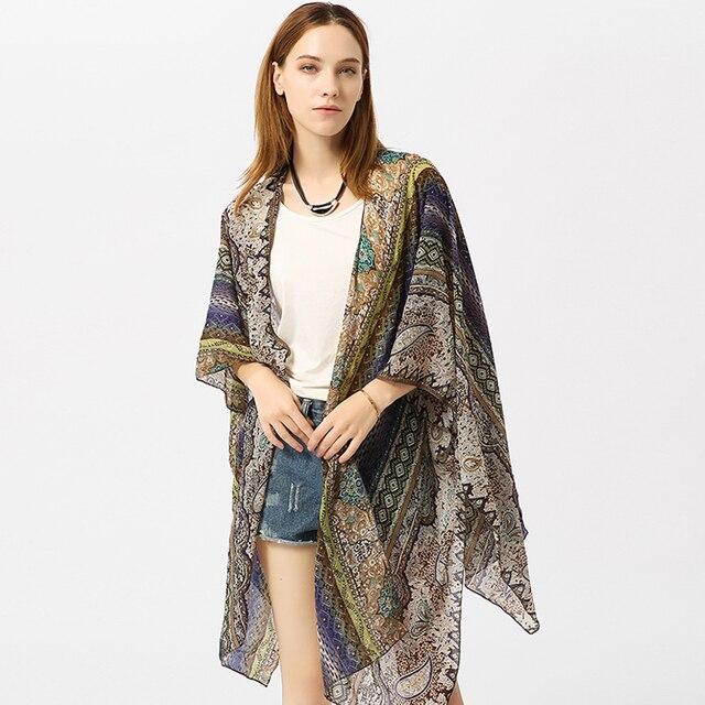 2a3eeded8 Beach Cover Up Vintage Kimono Floral imprimir Bikini cubrir traje de baño  Blusa de gasa mujeres