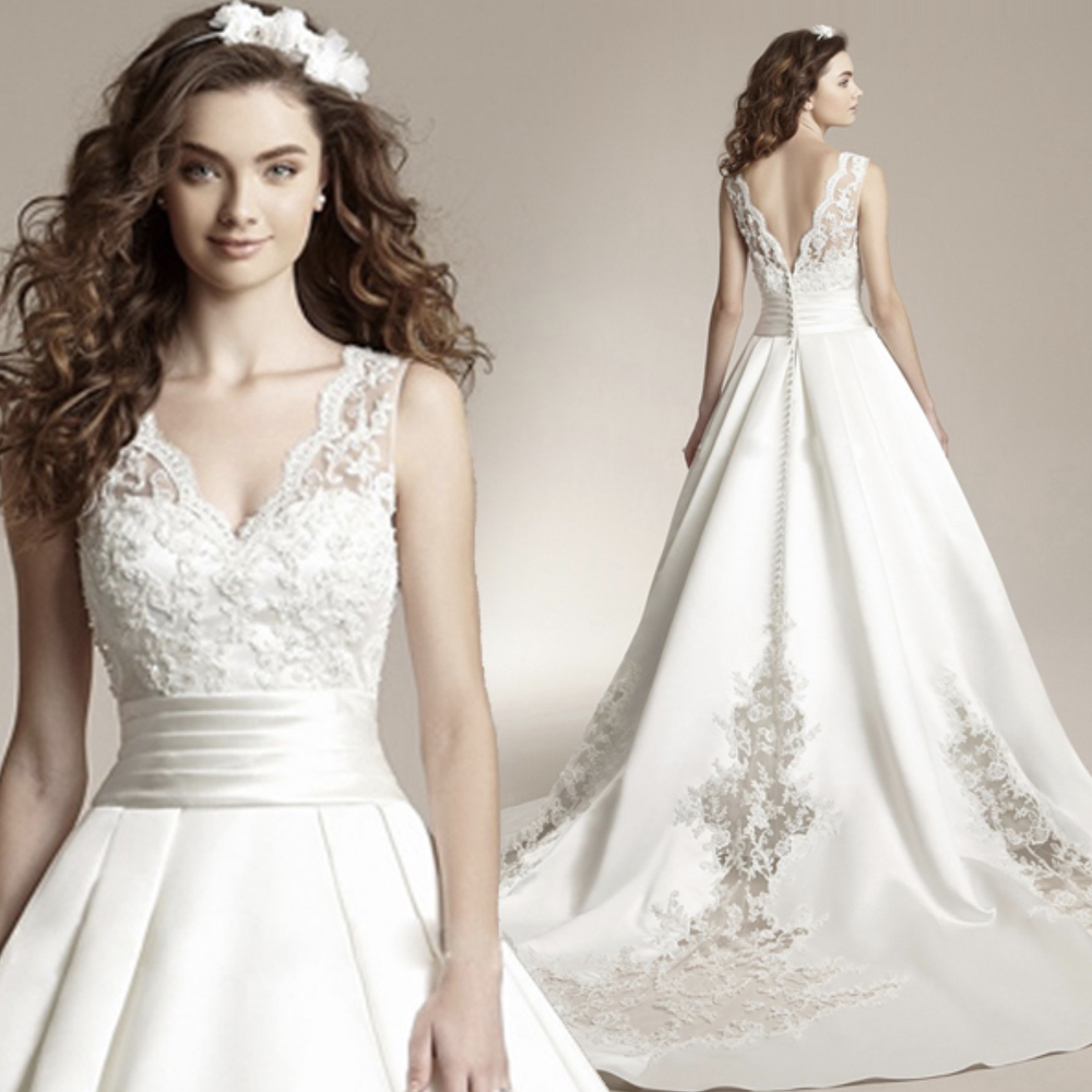 Fansmile New Vestido De Noiva White Lace Wedding Dress