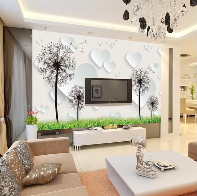 Custom Any Size Wall Mural Wallpapers Modern Living Room Bedroom Beautiful Dandelion Photo Murals Fly