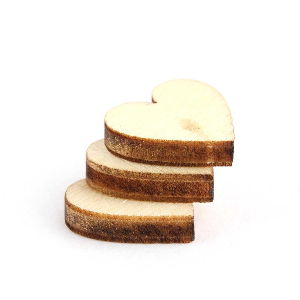 100 unidades/pacote bonito 4 tamanhos 6/8/10/12mm misto amor coração forma casamento mesa dispersa decoração rústica de madeira decoração do casamento botões