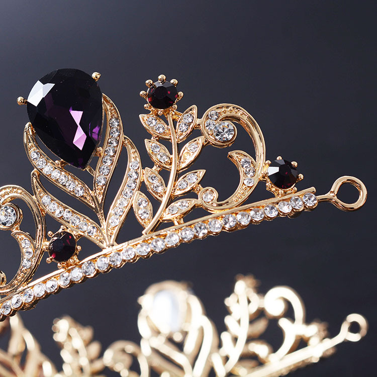 New Luxury Purple Crystal Crowns Princess Wedding Tiara Crown Rhinestone Bridal Hair Jewelry Accessories For Women Party In From