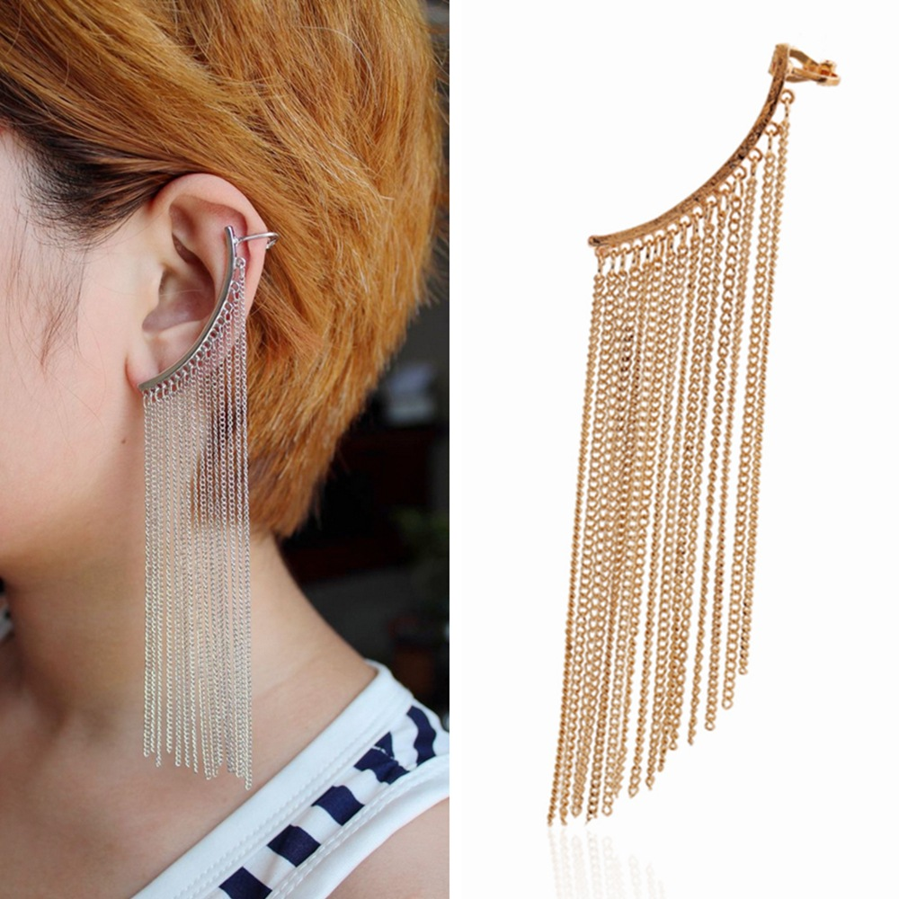 Gold Color Silver Color Long Chain Tassels Ear Cuff Earings for Women Stylish Simplicity Clip on Earrings Fashion Jewelry 1pc золотые серьги по уху