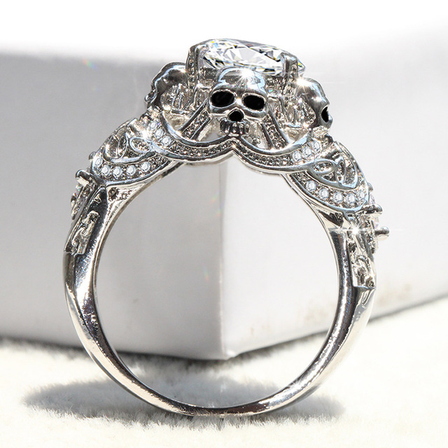 67d138a3e14a72 Luxury Skull Engagement Rings For Women Gothic Skeleton Rings Classic  Silver Color CZ Crystal Wedding Rings Jewelry Dropshipping