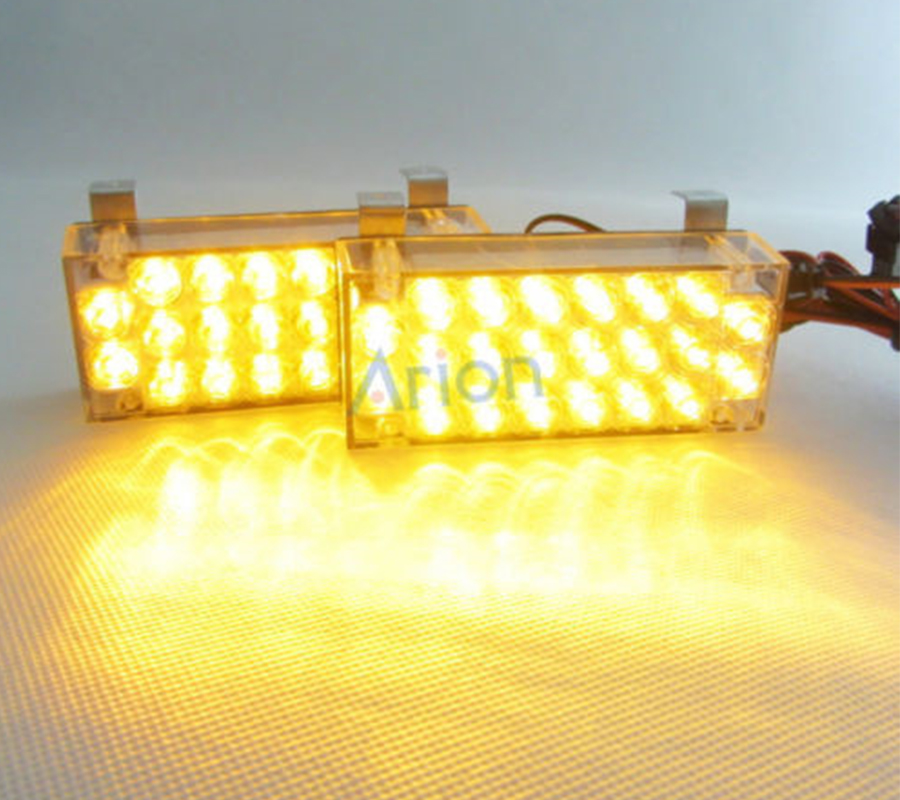 2 X 22 Led Amber Yellow Car Truck Recovery Security Strobe Light 3 Flashing Llight Lamp Free Shipping