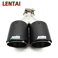 LENTAI High Quality Twin Outlet Carbon Fiber Car Exhaust Pipe Muffler Tip Cover Modified For BMW F30 F20 E87 E81 Accessories