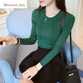 2016 New Arrival Women's Autumn Clothing Long Sleeve Pullover Sweater Solid Knitting Pattern Female Tops 7 Colors In