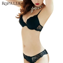 ROPALIA Lady Bra Set Ropa interior Candy Colors Bordado de encaje satinado Push Up Bras Set con bragas