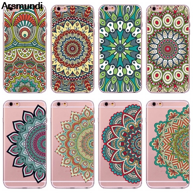 Arsmundi Mehndi Indian Henna Mandala Flower Phone Cases for iPhone 5C 5S 6 6S 7 8 Plus X Case Crystal Clear Soft TPU Cover Cases