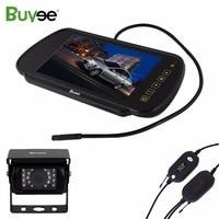 Buyee Wireless vehicle backup camera 18 LED Waterproof car parking camera + 7'' Color LCD Rear View Display Mirror Monitor Truck