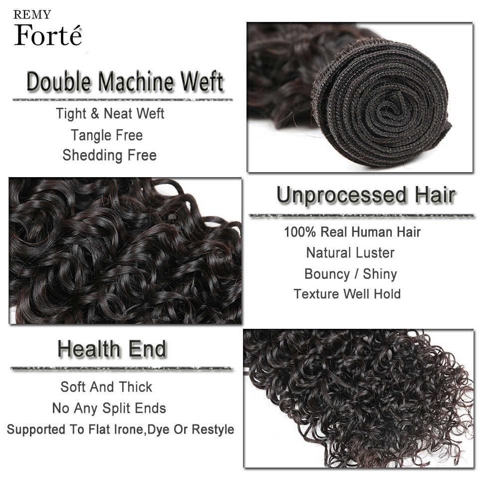 Remy Forte kıvırcık demetleri ile kapatma 10-30 inç Remy brezilyalı saç örgü demetleri 3/4 Kinky kıvırcık demetleri ile kapatma hızlı abd