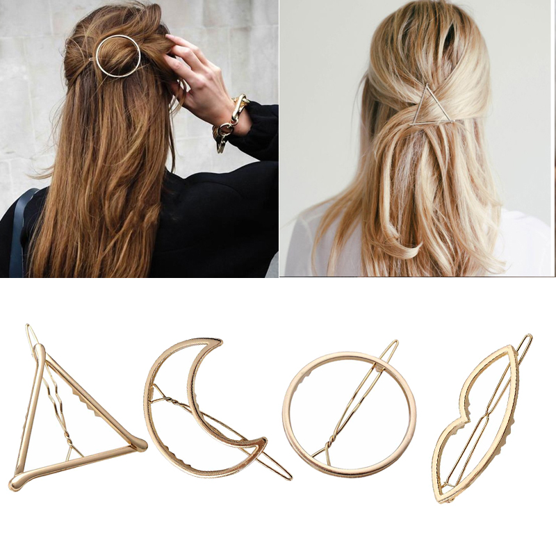 Hot Sale Fashion Geometric Alloy Hair Clips For Woman Metal Hairband Moon Triangle Circle Hairgrip Barrettes Hair Accessories