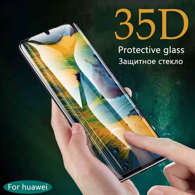 35D Protective Glass On For Huawei P30 P10 P20 Lite Pro Tempered Glass On For Huawei Mate 20 10 Lite Pro Screen Protector Curved