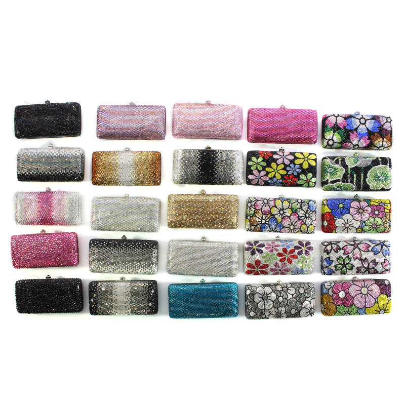 Women Clutch Evening Bags rhinestone Sparkly Ladies Party Clutch Purse Crystals Long Chain Wedding Bridal Clutch Bag(1 (9))