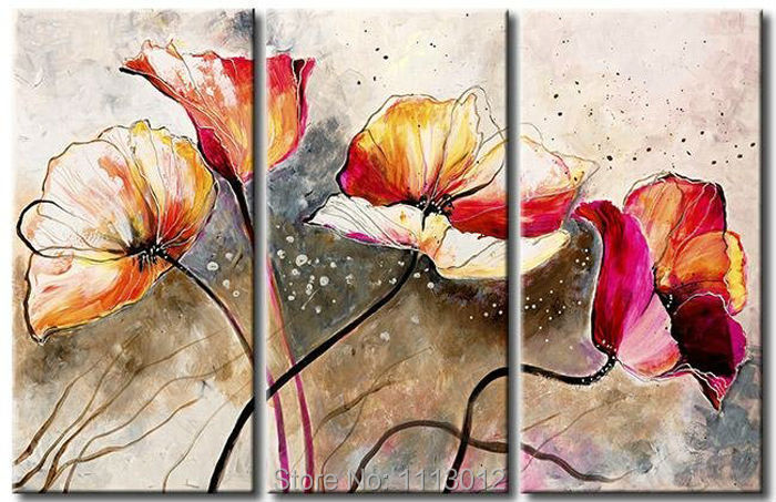 Fashion Modern Lily Tulips Flower Oil Painting Wall Pictures For Living Room Home Decoration Abstract Art