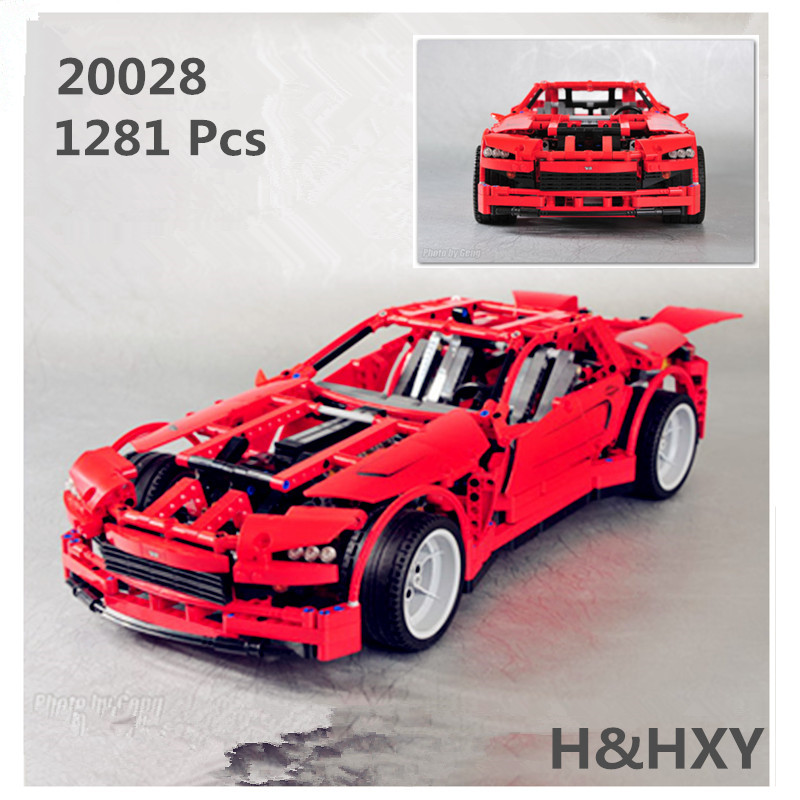 H&HXY 20028 1281PCS Technic series Super Car assembly toy car model LEPIN brick building block toy gift for boy New Year gift lepin 20028 technic series super car assembly toy car model building block 1281pcs bricks toys gift for gift 8070