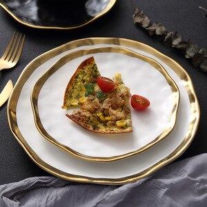 Image 2 - Keramik Abendessen Platte Gold inlay Snack Gerichte Luxus Gold Kanten Platte Geschirr Küche Platte Schwarz Und Weiß Tablett Tablware Set