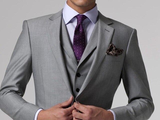 Aliexpress.com : Buy Gray Wedding Tuxedo Custom Made Suits Groom ...