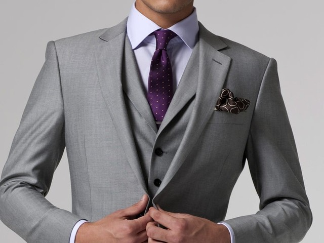 Gray Wedding Tuxedo Custom Made Suits Groom Suit Mens Gray Tuxedo ...