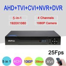 Hi3521A 5 en 1 XMeye 4 Canales de 1080 P 2MP 25Fps en tiempo real de Vigilancia Coaxial Híbrida Onvif NVR CVI TVI AHD DVR DEL Envío gratis