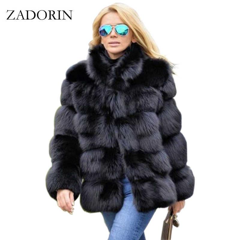 3db51750060ce ZADORIN 2019 New Winter Coat Women Faux Fox Fur Coat Plus Size Women Stand  Collar Long