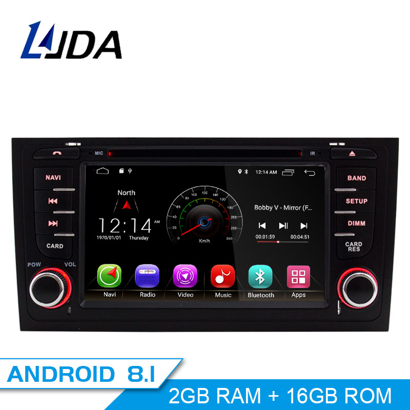 LJDA 2 Din Android 8 1 Car DVD player For AUDI A6 S6 RS6 GPS Navigation