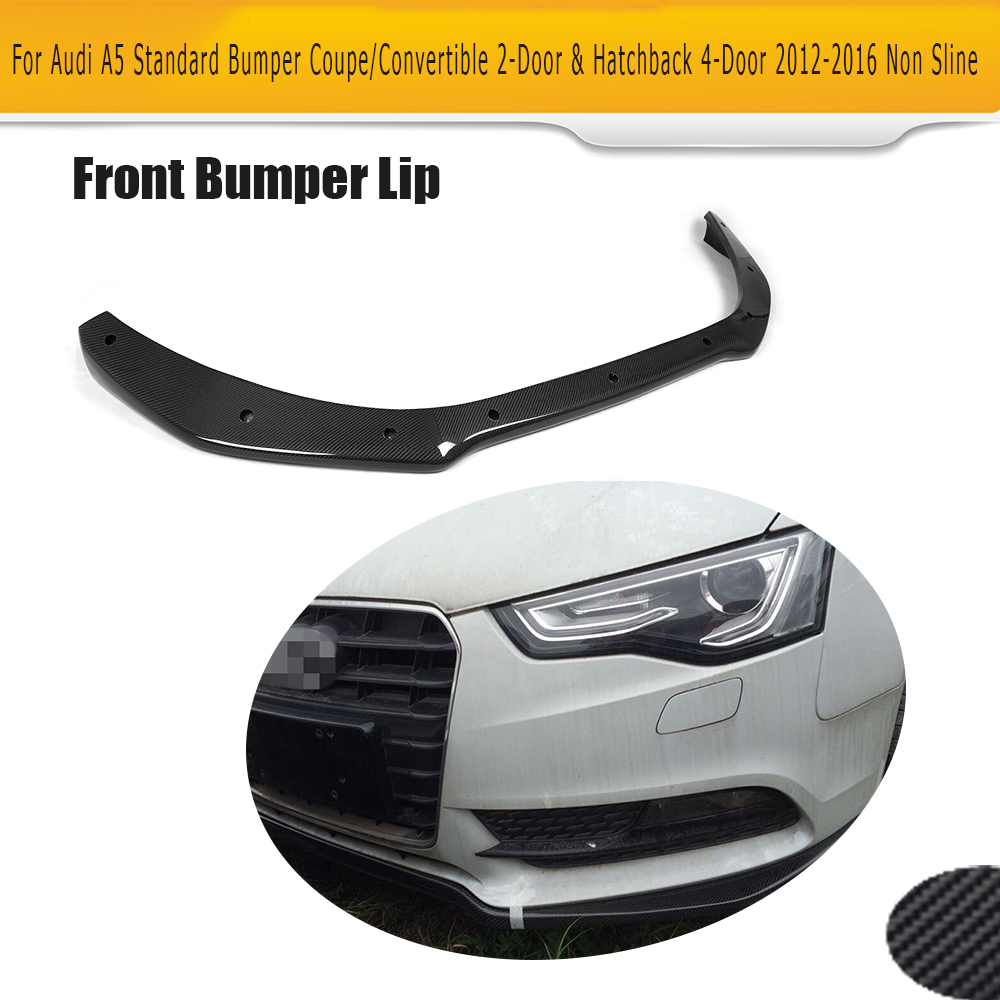 carbon fiber front bumper lip spoiler Diffuser for Audi A5 standard And Convertible Only 12-16 Non S line JC Style Black FRP