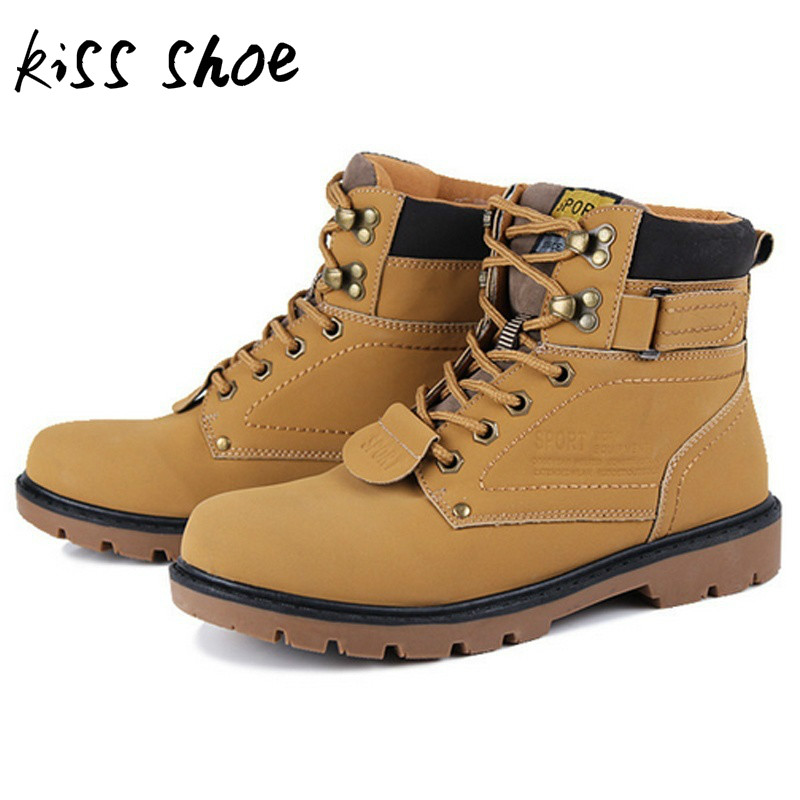 Kiss Shoe Man Boot Winter Men Boots Ankle Shoes Warm Snow Velvet Fur Work Flats Martin Shoe Lace-up