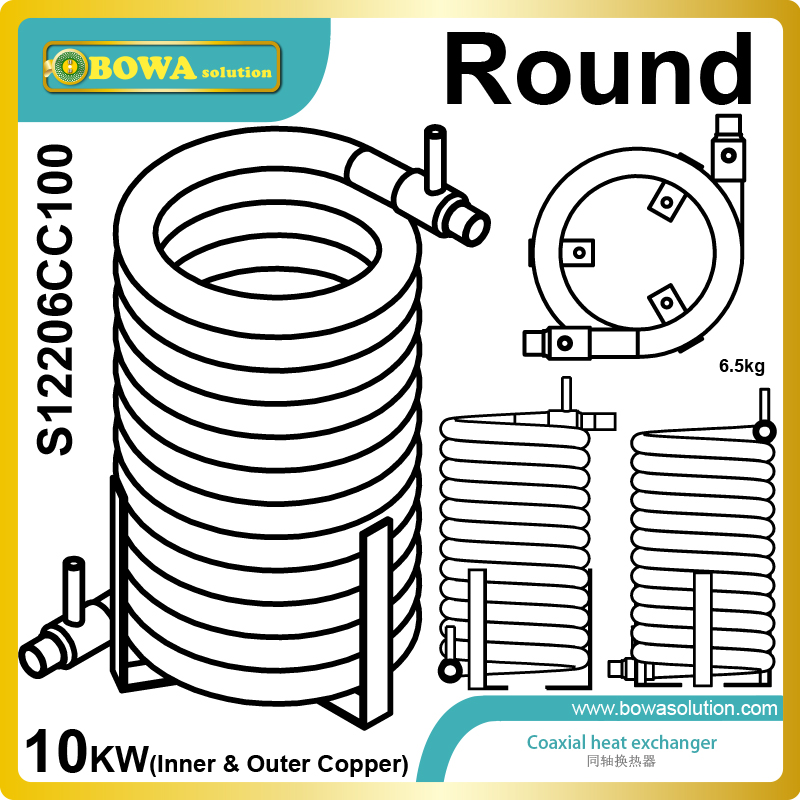 10KW high efficient outer and inner copper pipe heat exchanger for heat pump water heater and marine AC 11kw heating capacity r410a to water and 4 5mpa working pressure plate heat exchanger is used in r410a heat pump air conditioner