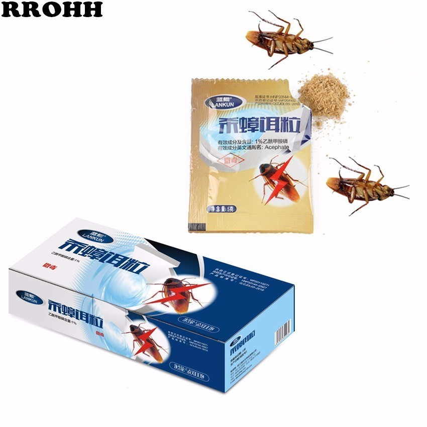 100Pcs Powder Cockroach Killing Bait Cockroach Repeller Killer Trap Anti Pest Cockroach Powder Effective Pest Control Products-in Baits & Lures from Home & Garden
