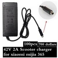 100 штук зарядное устройство для скутеров 42 V 2A адаптер Питание для Xiaomi Mijia M365 электрический скутер аксессуары Зарядное устройство Бесплатная
