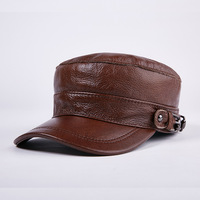 Genuine Leather Baseball Cap New Men's Real cowhide Leather flat Cap Male Adult Solid Adjustable Army Hat Winter Warm Peaked Cap