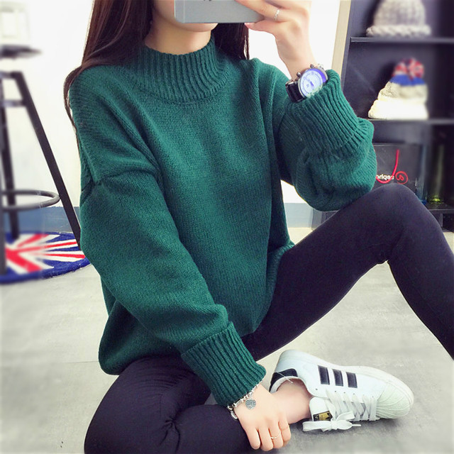 00820d55c8 Women Korean Sweater Thick Coarse Wool Knitted Lantern Sleeve Tops Fashion  Casual For Spring Autumn Knitted Pullover zz116