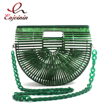 Personalized fashion design oval hollow basket scarf ladies casual acrylic handbag vacation hollow bag toteswomen's shoulder bag