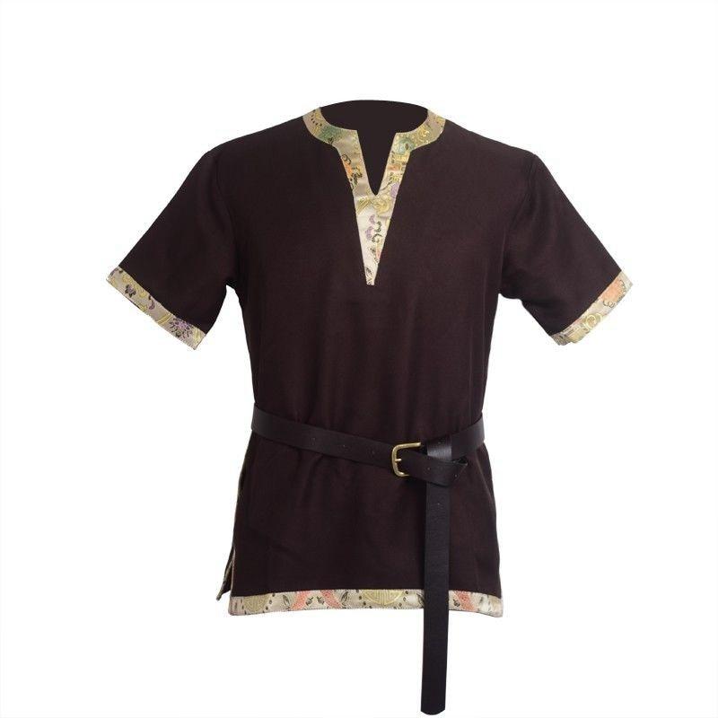 الرجال البالغين القرون الوسطى فارس المحارب زي براون تونك الملابس نورمان شوفالييه الجديل فايكنغ القراصنة سكسون لارب أعلى قميص للرجال