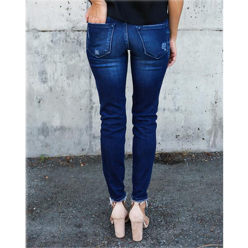 skinny Ripped Jeans Women Pleated Pants Cool Vintage push up Denim jeans Mid Waist Casual Hole boyfriend jeans Slim mom jeans in Jeans from Women 39 s Clothing
