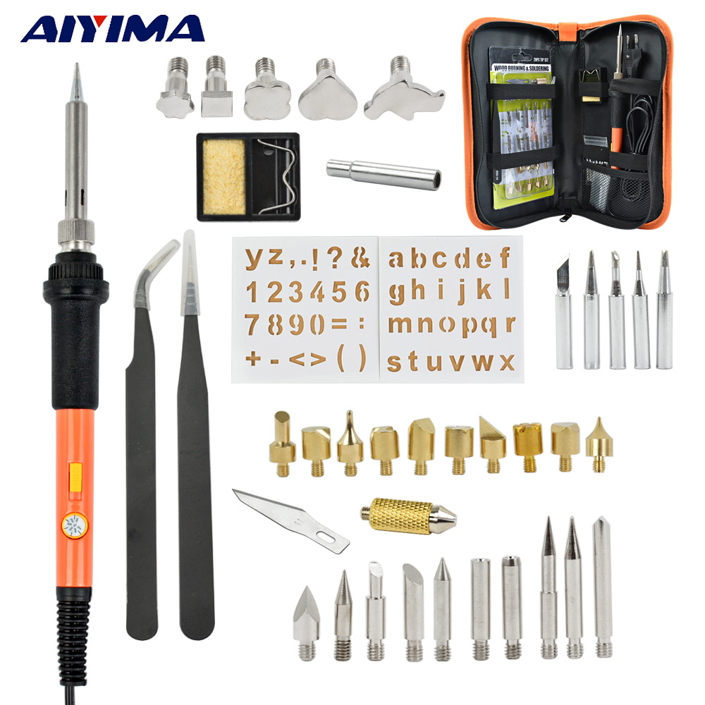 AIYIMA Adjustable Wood Burning Pen Set Soldering Iron Carving Pyrography  Tool Soldering Welding Tips Kit Chiseled Wood Embossing