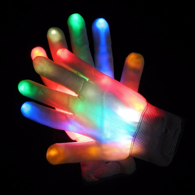 A Pair LED Color Changing Lighting Gloves Flashing Skeleton Hallowamas Stage Props Flash Gloves For Holiday & A Pair LED Color Changing Lighting Gloves Flashing Skeleton ...