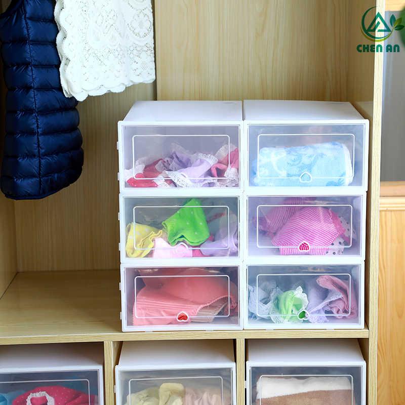6 adet/takım kalınlaşmış çevirme ayakkabı şeffaf çekmece durumda plastik ayakkabı kutuları istiflenebilir kutu saklama kutusu ayakkabı depolama organizatör