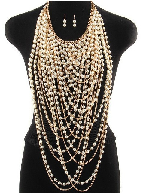 Sexy Multilayer Sequins Crystal Rhinestone Pearl tassel Pendants Chain Necklace Choker Collar Women Vest Bib Shoulder Body Jewel-in Chain Necklaces from Jewelry & Accessories on Aliexpress.com | Alibaba Group