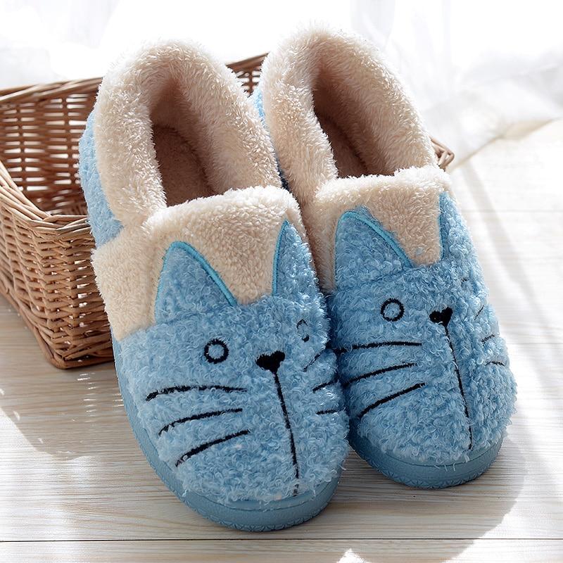 Warm Cute Cat Face Slippers
