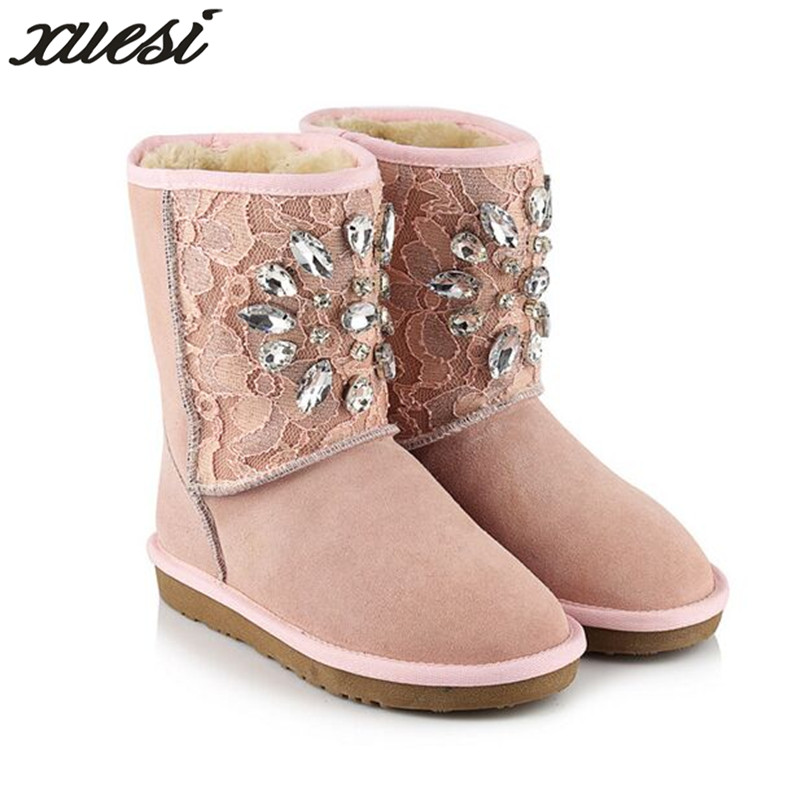Winter New Leather Snow Boots Diamond Thick Warm Cotton Boots Wool Warm Women's Boots Leather Shoes Women Zapatos Mujer 34-43