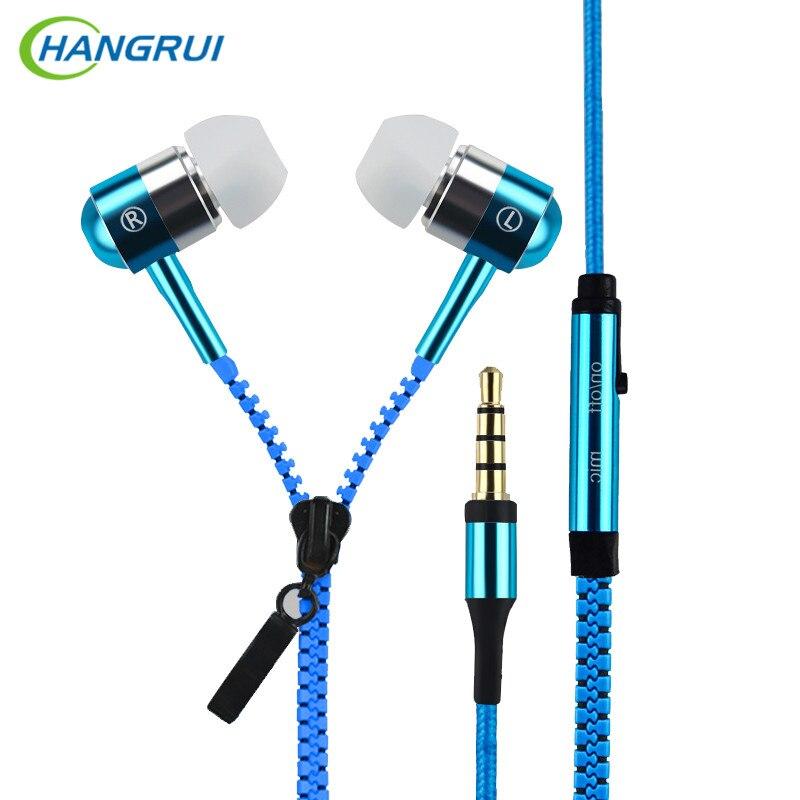 HANGRUI Metal Zipper In Ear Earphones Sport Headset 3.5mm Universal Earbuds with Mic Earphone For iphone samsung xiaomi redmi 4x