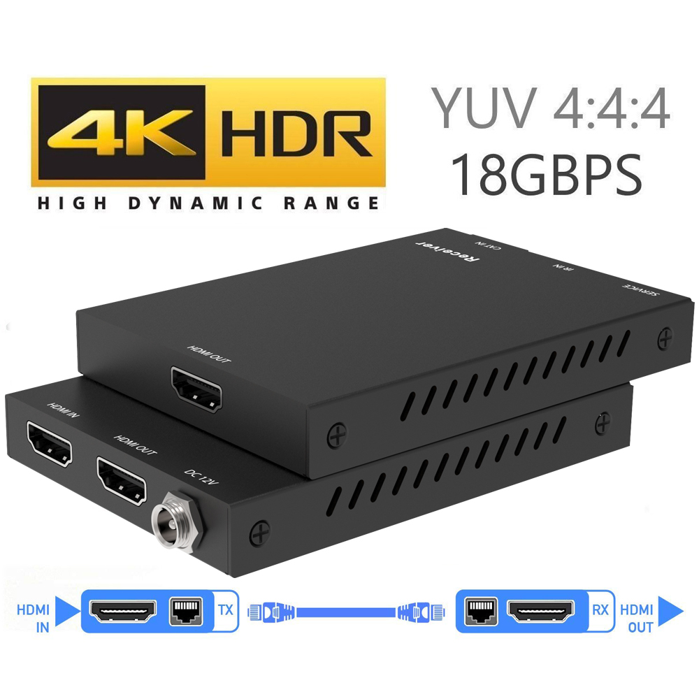 2019 4K 60Hz HDMI 2.0 Extender 50m Support 18Gbps & Loop Out HDMI Extender with IR 4K HDMI to RJ45 Extender Transmitter Receiver hdmi extender rj45
