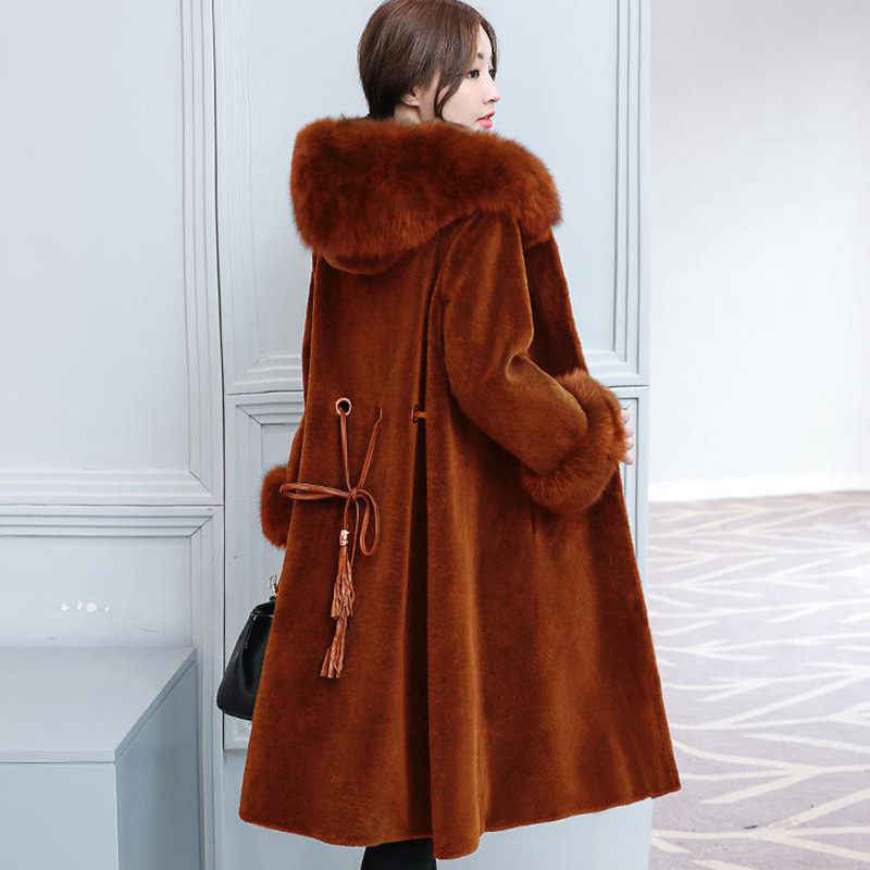 69af5ea0d8e ... 2018 Women Winter Hooded Fake Fur Coats Plus Size Vintage Artificial Black  Faux Fox Fur Coat ...